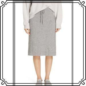 Vince cashmere drawstring knee length skirt NWT